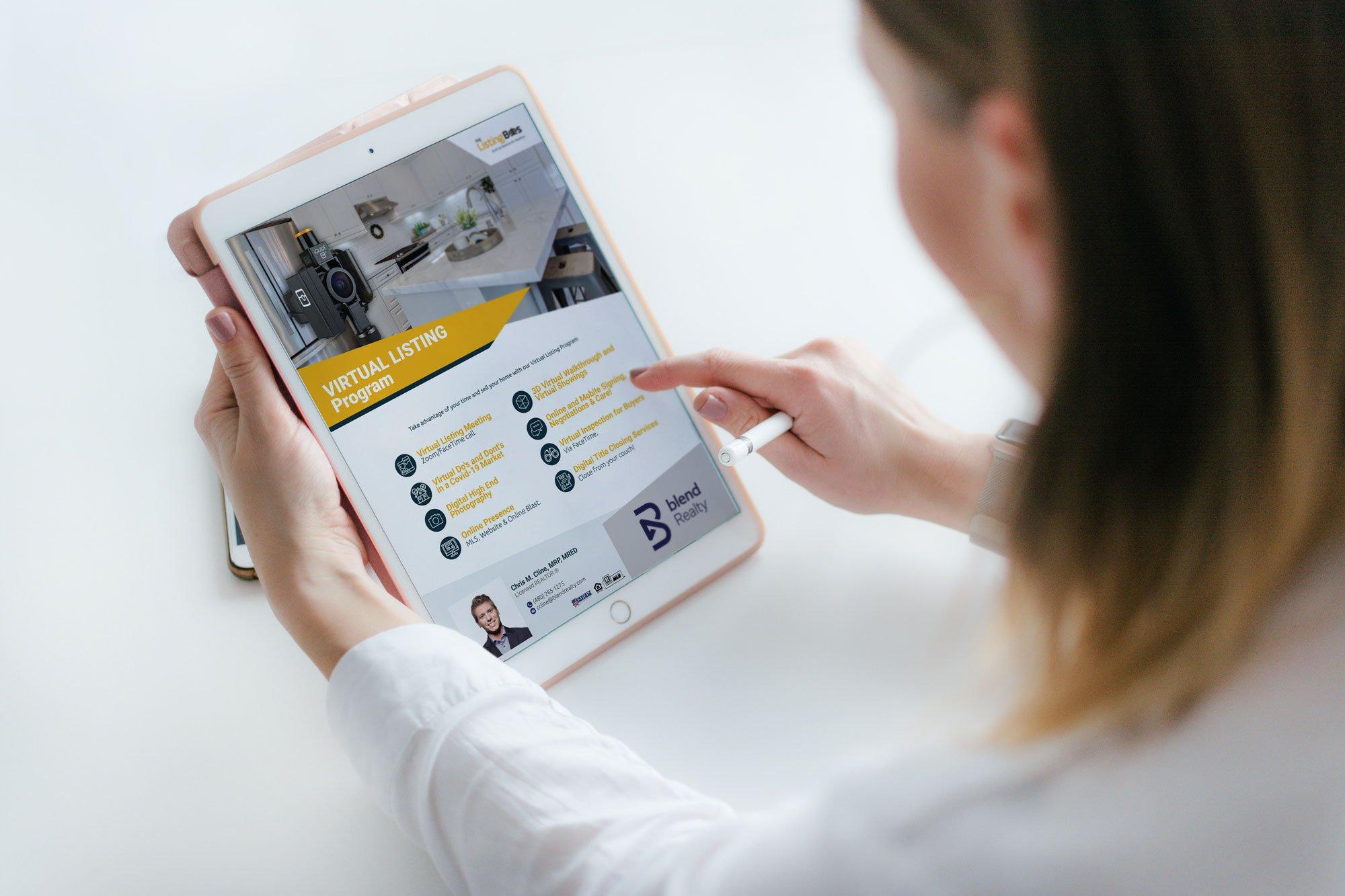 Woman Touching tablet Flyer Virtual Listing Program